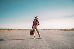 Traveler stands on road Stock Photos