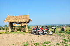 Traveler stop Sport Motorcycle and Chopper Motorcycle for rest at Viewpoint Ban Kha Stock Photos