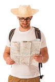 Traveler with straw hat, white shirt, backpack and map seems lik Royalty Free Stock Image
