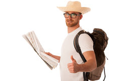 Traveler with straw hat, white shirt, backpack and map seems lik Royalty Free Stock Photos