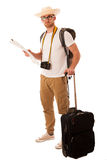 Traveler with straw hat, white shirt, backpack and suitcase wait. Ing for transport isolated Stock Photo