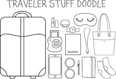 Traveler Stuff Doodle Stock Photo