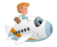 Traveler with the suitcase on an airplane character Stock Photography