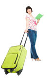 Traveler with suitcase and book Royalty Free Stock Images