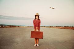 Traveler with suitcase Royalty Free Stock Photo