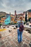 Traveler at Sulfur Bath district of Tbilisi Stock Photo