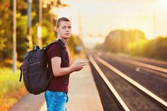 Traveler at the sunset Stock Photography