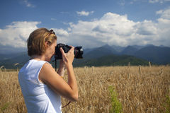 Traveler taking photos -tourism concept Stock Images