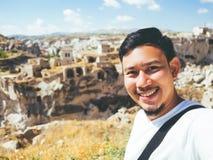 Traveler taking selfie in Turkey. Stock Image