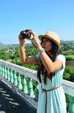 Traveler Thai woman at Kanchanaburi Thailand Royalty Free Stock Photo