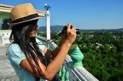 Traveler Thai woman at Kanchanaburi Thailand Stock Images