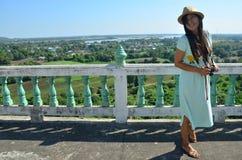 Traveler Thai woman at Kanchanaburi Thailand Stock Photo