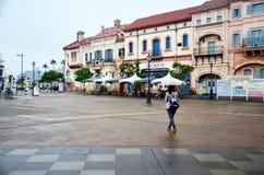 Traveler thai woman posing portrait holding umbrella walking tra Royalty Free Stock Photography