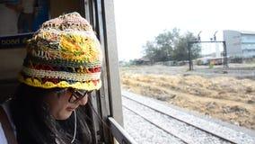 Traveler Thai woman on Railway Train at Thailand stock video footage