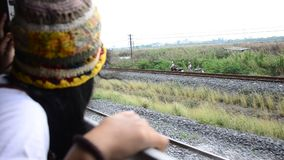 Traveler Thai woman on Railway Train at Thailand stock footage