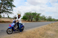 Traveler thai woman ride motorcycle travel around Bagan Royalty Free Stock Image