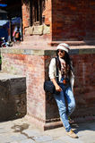 Traveler Thai Women in Basantapur Durbar Square at Kathmandu Nepal Stock Images