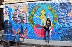 Traveler Thai Women in Basantapur Durbar Square at Kathmandu Nepal Royalty Free Stock Photo