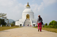 Traveler Thai Women travel go to World Peace Pagoda at Pokhara Stock Image