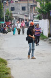 Traveler Thai women walking on street go to Phewa Tal or Fewa Lake Stock Photos