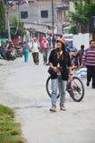 Traveler Thai women walking on street go to Phewa Tal or Fewa Lake Stock Images