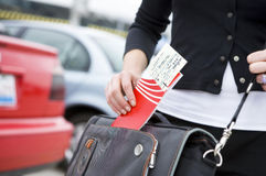 Traveler with ticket Royalty Free Stock Images
