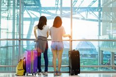 Traveler together in airport concept. Young asian backpack with carrying hold luggage and passenger for tour travel booking ticket flight international stock images