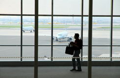 Traveler at the Toronto Pearson Airport Royalty Free Stock Photo