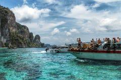 Traveler. Tourist boat on the sea Stock Photos