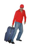 Traveler tourist man with trunks isolate Royalty Free Stock Photography