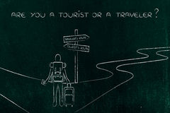 Traveler or tourist: person with backpack and bag at crosspath Stock Photo
