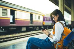 Traveler at train station stock photography