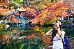 Traveler travel to autumn at daigoji temple, Kyoto, Japan Stock Photos