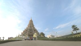 The traveler are traveling in Wat Huay Plakang 9 Tier Temple ,Time-lapse. stock video footage