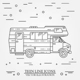Traveler truck camper thin line. Camping RV trailer family caravan outline icon. RV travel camper grey and white vector pictogram Stock Images