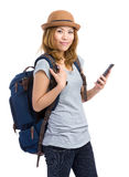 Traveler use mobile phone Royalty Free Stock Photography