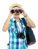 Traveler using binocular Royalty Free Stock Images