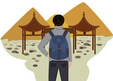 Traveler. Vector illustration with traveler in the China Stock Image