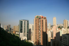 Traveler view  Hongkong from peak Stock Photography
