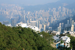 Traveler view  Hongkong from peak Royalty Free Stock Image