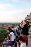 Traveler wait shooting photo sunrise at Ancient City Stock Photos
