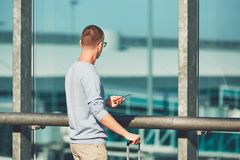 Traveler waiting for departure Royalty Free Stock Images