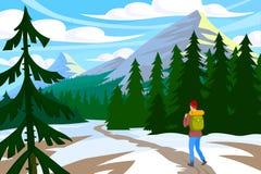 Traveler walk in mountain. Traveler goes walk in winter mountains. Active hiking vector illustration Stock Photos
