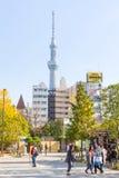Traveler walking near Tokyo Sky Tree at Asakusa Japan Royalty Free Stock Images