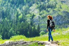 Traveler is walking outdoor Royalty Free Stock Photography