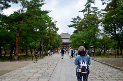 Traveler walking at Todai-ji Temple Stock Photos