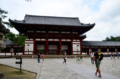 Traveler walking at Todai-ji Temple Royalty Free Stock Image
