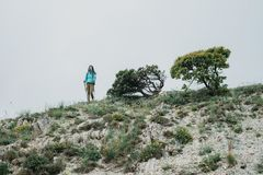 Traveler walking with trekking poles. Female backpacker with trekking poles walking in the mountains Royalty Free Stock Photo