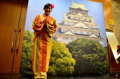 Traveler wear kimono japanese style for take photo at Osaka cast Stock Images