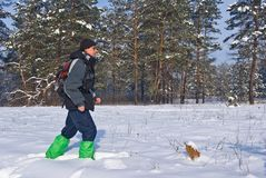 Traveler in a winter forest Stock Photos